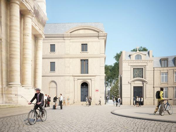Future entrée du campus de l'Artillerie   Illustration :Sogelym Dixence/ Wilmotte & Associés / Moreau Kusunoki Architectes