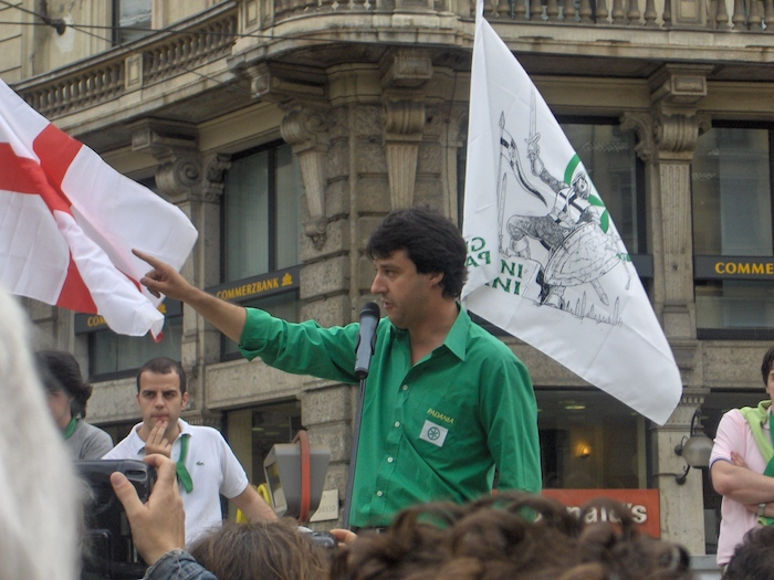 Matteo Salvini, leader of Lega Nord, making a speech in Milan on the 20th of May 2006.  Crédit photo: Theriddle
