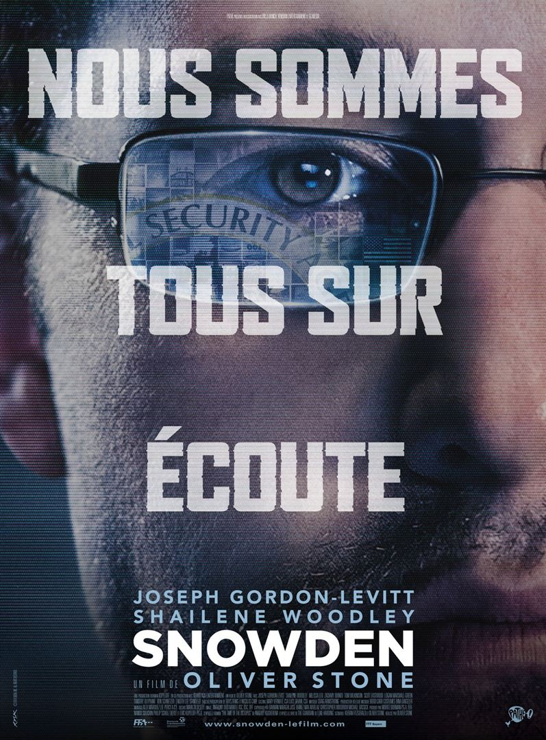 Affiche du film Snowden, sur l'un des lanceurs d'alerte les plus célèbres au monde.