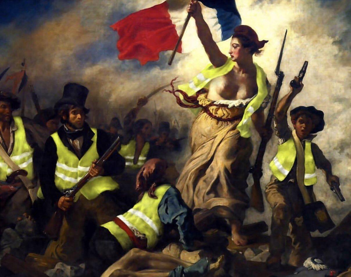 La Liberté guidant le peuple  de Delacroix, version « gilets jaunes ».