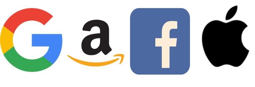 Logos des GAFA (Google, Amazon, Facebook & Apple).