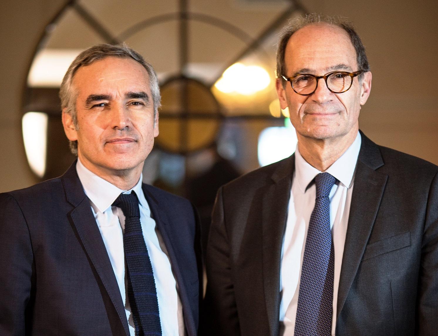 Bruno Jeudy (à g.) et Éric Woerth (à dr.). Crédits photo : Vincent Capman