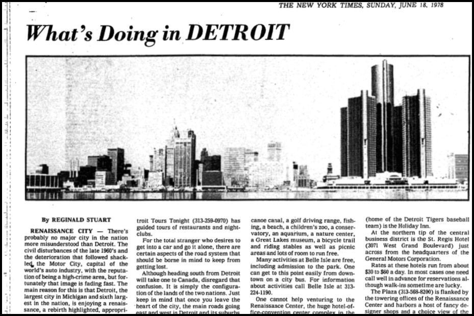 "Excerpt of  The New York Times  (June 18, 1978) about Detroit, ""Renaissance City."""