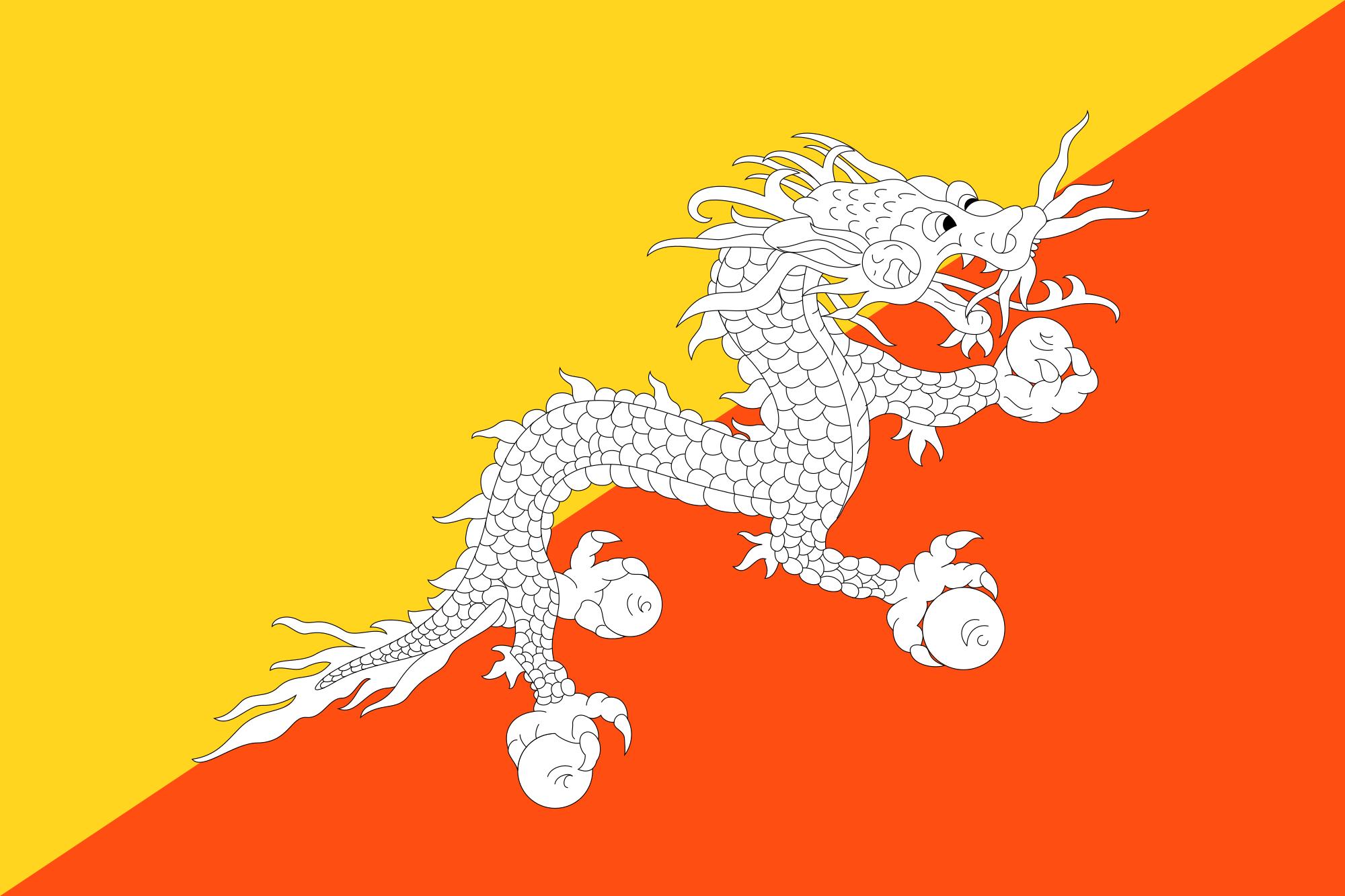 Drapeau du Bhoutan. Crédits : Wikicommons