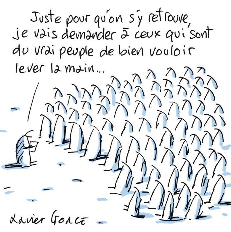 Cette enquête a été illustrée par une série de dessins de presse de Xavier Gorce.