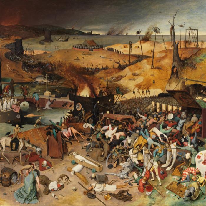 L'imaginaire de l'effondrement ne cesse d'être repris, transformé et diffusé par des courants qui n'ont parfois pas grand-chose en commun. La prolifération de ces discours n'est pas sans effet sur les sociétés qu'ils traversent : désillusions, inquiétudes fatalistes ou motivation à agir. - Pieter Brueghel l'Ancien, Le Triomphe de la Mort