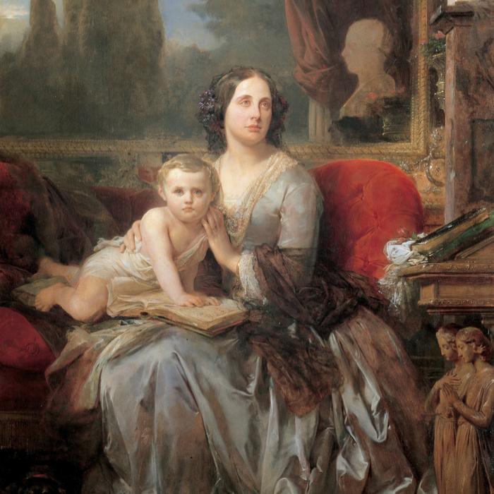 Maria Brignole-Sale de Ferrari duchesse de Galliera avec son fils Filippo , Léon Cogniet, 1856