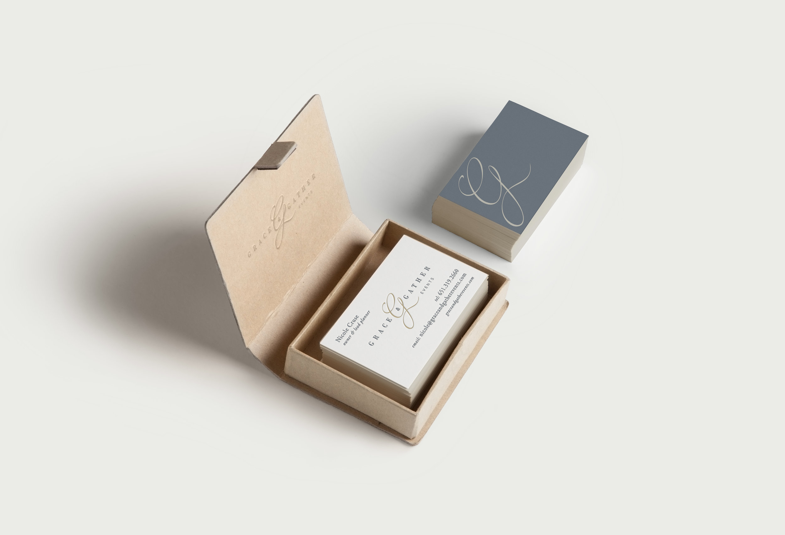 Grace and Gather Events business card and branding