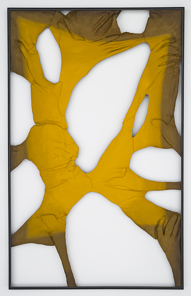 Back to Basics - Yellow , Oil paint, acrylic paint, spray enamel, urethane resin, epoxy, polyurethane glue, burlap, powder-coated aluminum frames, 37 x 23.5 in each, 2014