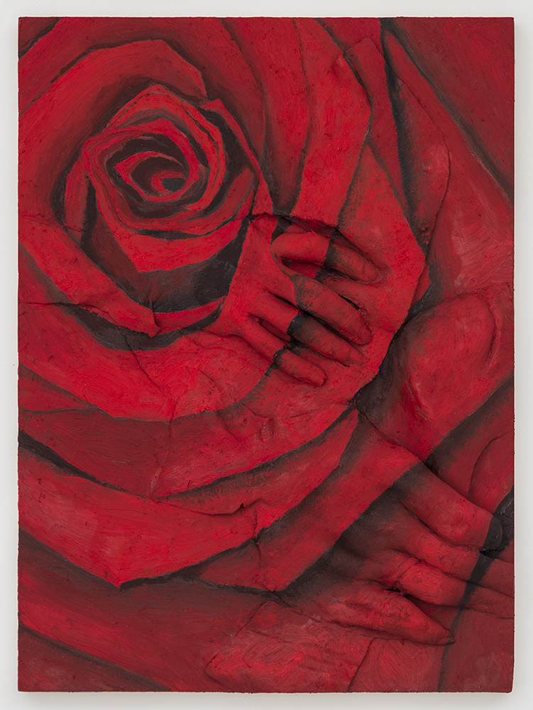 Back to Basics - Rose (Lucy and Jon) , Oil paint, acrylic paint, urethane resin, polyurethane adhesive on wood panel, 16 x 12 in., 2014