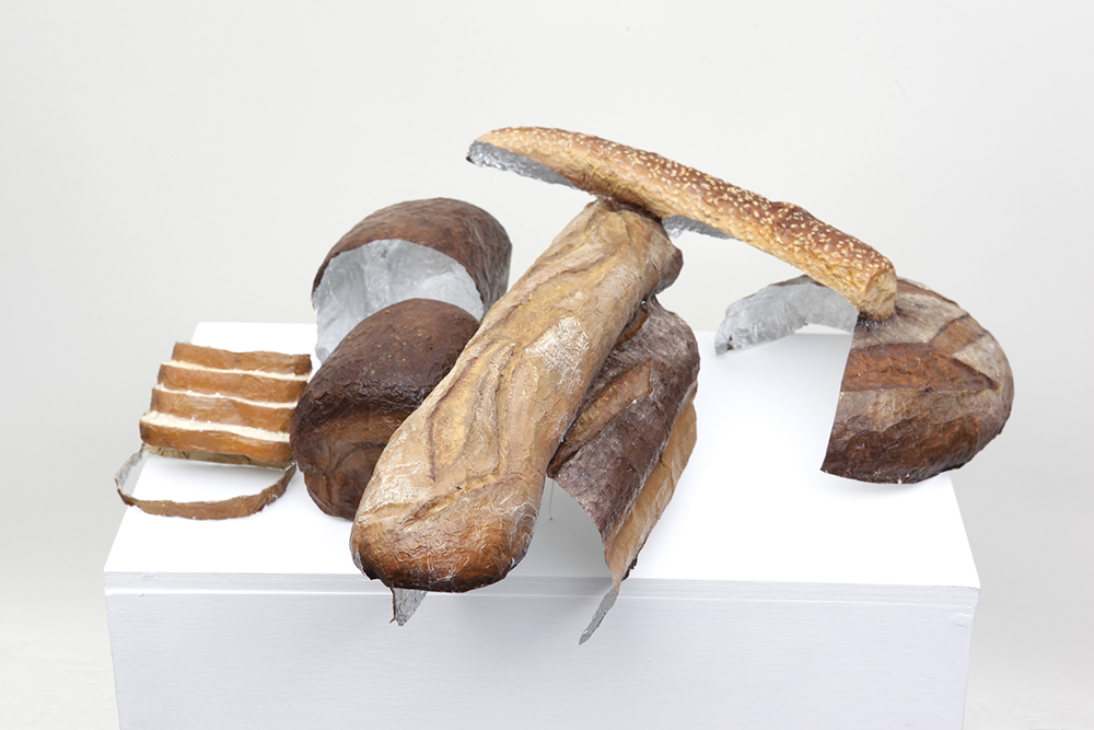 Bread Set , Oil paint on aluminum foil, 19 x 19 x 8.5 in., 2010