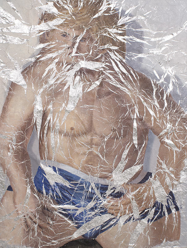 Jesse – Unfolded , Oil paint on aluminum foil mounted on canvas, 59 x 45 in., 2012
