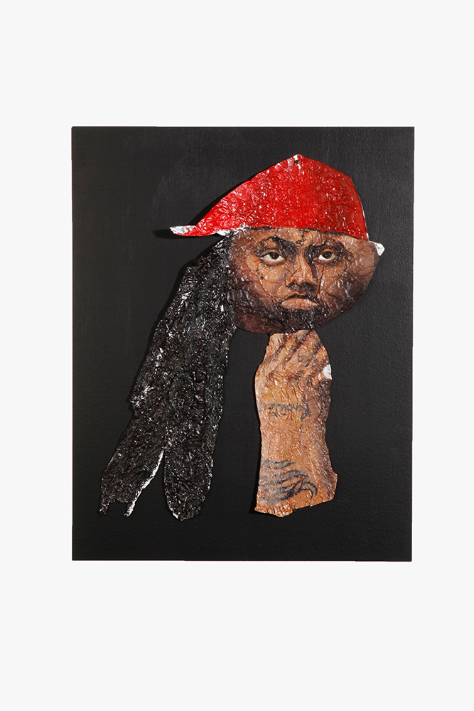 Lil Wayne – Flat , Oil paint on aluminum foil, 21 x 15 in., 2009