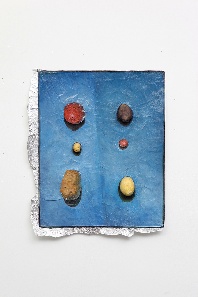 Potato Varieties , Oil paint on aluminum foil, 27 x 23 in., 2010