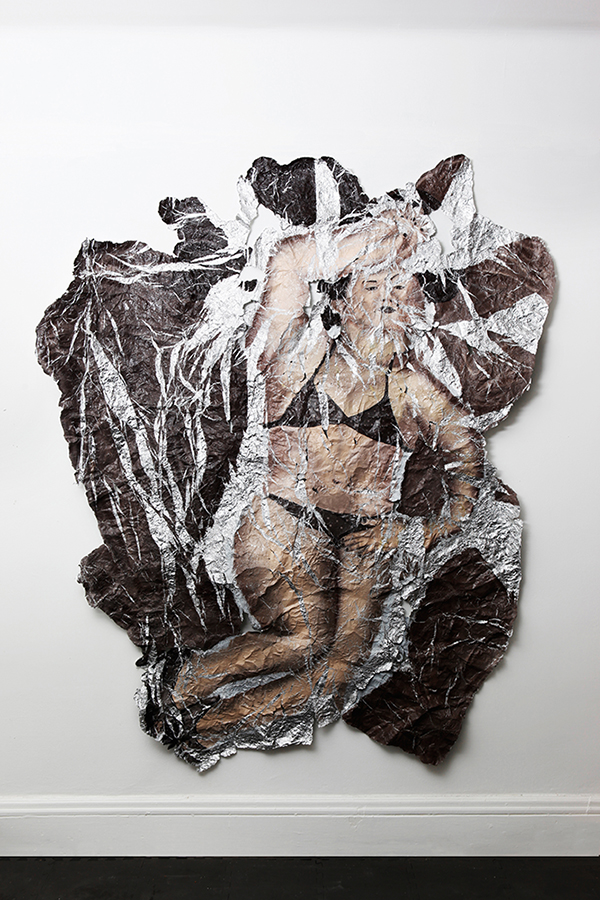 Yui – Unfolded , Oil paint on aluminum foil, 86 x 68 in., 2010