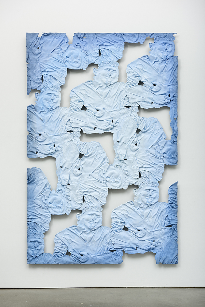 Dr. Eric Lander, Geneticist 1 , Oil paint, acrylic paint, urethane resin, epoxy, fiberglass, wood framing, 92 x 60 in., 2017