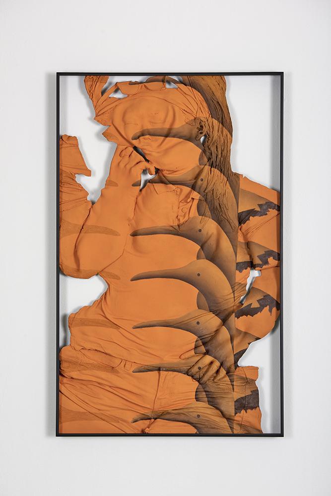 Auto-Synthetic (Orange) , Oil paint, acrylic paint, urethane resin, epoxy, fiberglass, powder-coated aluminum frame, 37 x 23.5 x 2 in., 2018. Photo: Tony Luong