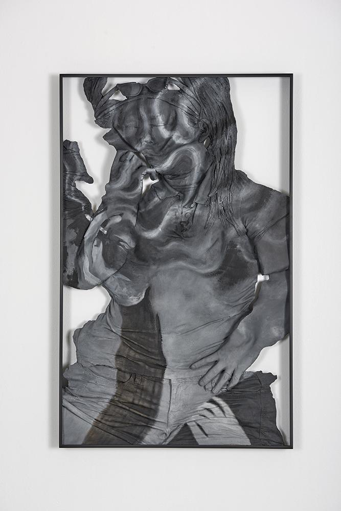 Auto-Synthetic (Conceptual Smoker) , Oil paint, acrylic paint, urethane resin, epoxy, fiberglass, powder-coated aluminum frame, 37 x 23.5 x 2 in., 2018. Photo: Tony Luong