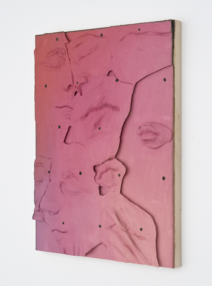 Marilyn Marks (Jon and Lucy) , Oil paint, spray paint, urethane resin on wood panel, 16 x 12 in., 2013, side view