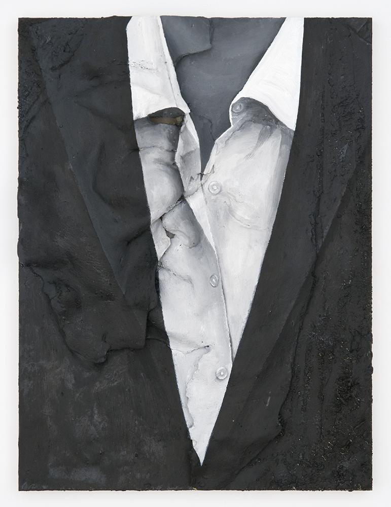 Couple Bonding, James Bonding (Karla and Bryan) , Oil paint, spray paint, urethane resin on wood panel, 16 x 12 in., 2013