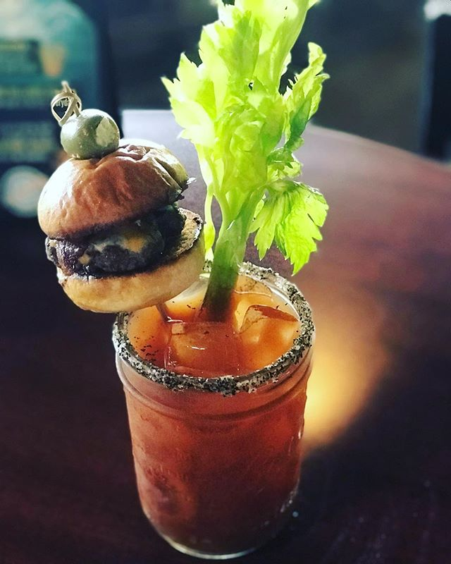 What's this delicious looking concoction?!? Our brand new A-1 Bloody Mary!!! Doors open in 30 minutes - - now taking reservations, free parking and we even allow the doggies out by our fire pits! Serving brunch today and tomorrow (yep, Monday morning!) from 9am-3pm! #mimosas #sundayfunday #sliders🍔