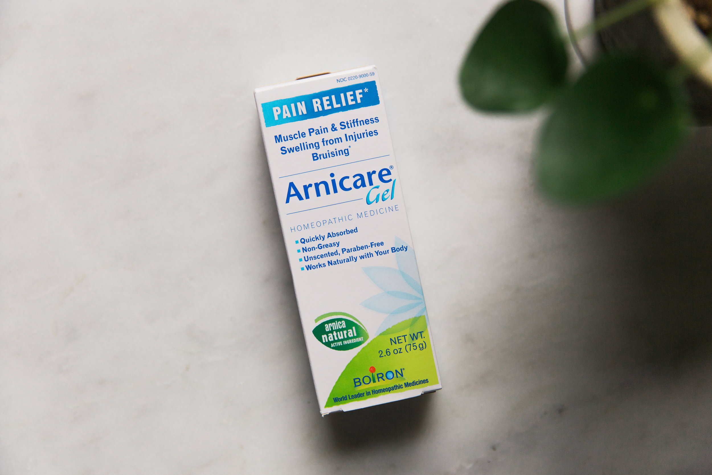 Arnicare gel, $15   Arnicare Gel temporarily relieves muscle pain and stiffness due to minor injuries, overexertion, and falls; reduces pain, swelling, and discoloration from bruises.