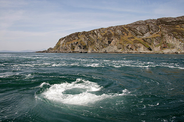 The Corryvreckan Whirlpool, off the west coast of Scotland