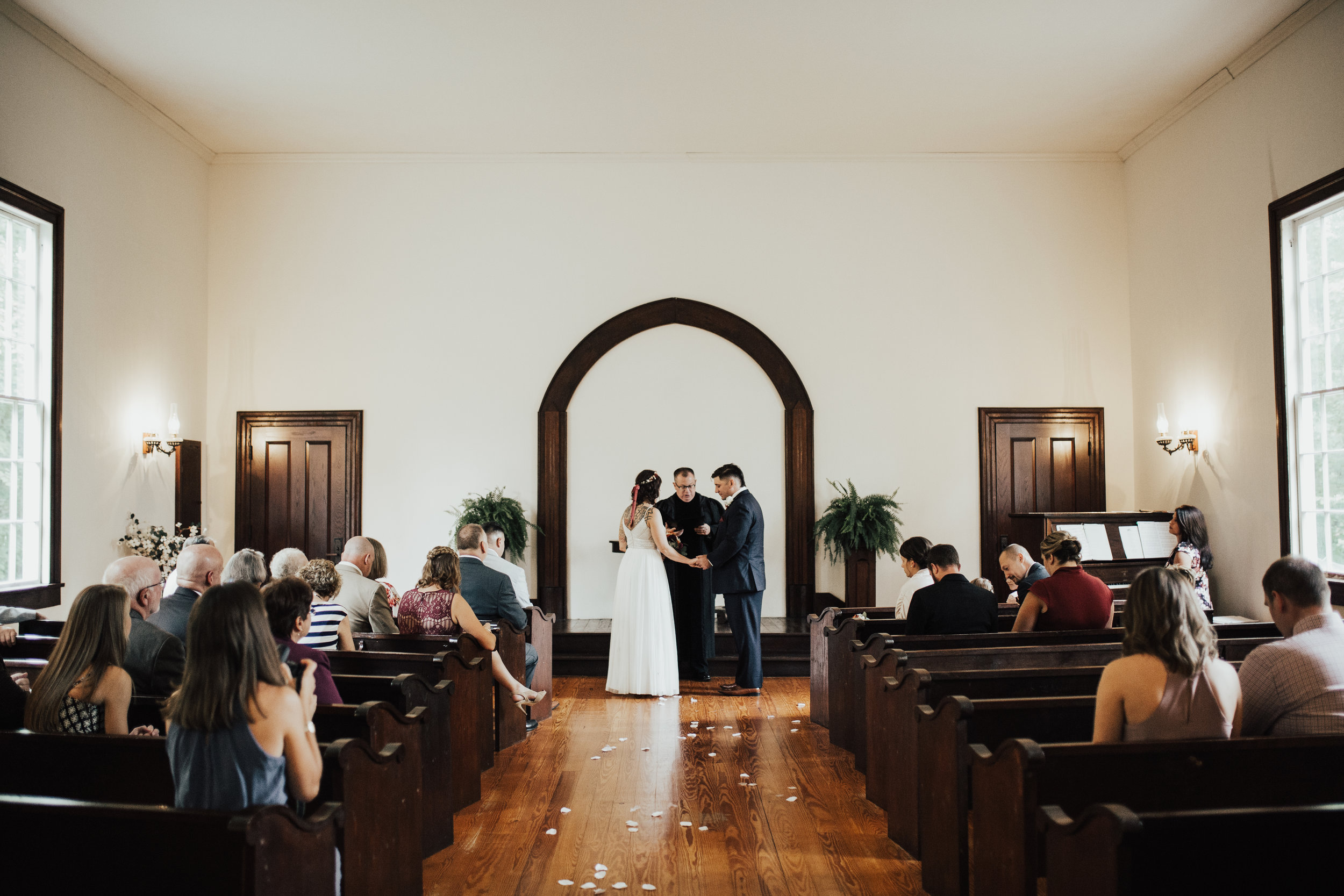 They chose to have an intimate ceremony with only their closest family sharing the moment with them.