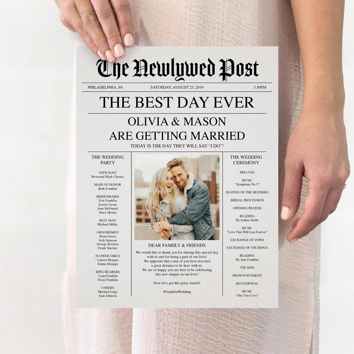 Unique Newspaper Wedding Program The Wedding Times large 4 page program