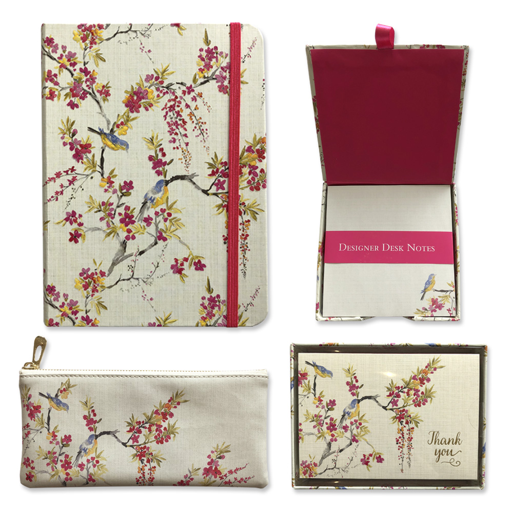 """Peter Pauper """"Blossoms and Bluebirds""""Collection: Journal, Designer Desk Notes, Pencil Case and Boxed Thank You Cards"""