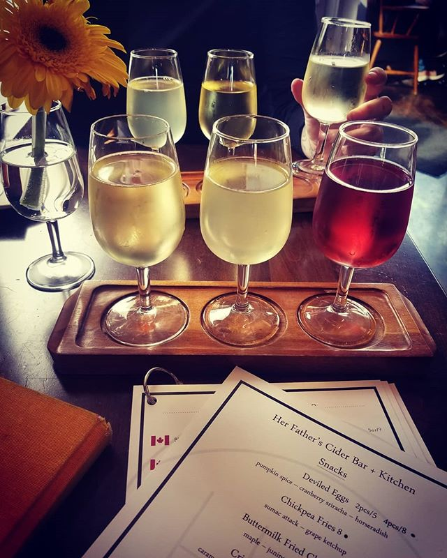 Creatures of comfort.  Cider Bar Flights with @livewildwitheda