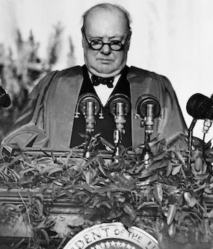 "Winston Churchill Giving the ""Iron Curtain Speech"" in 1946. 