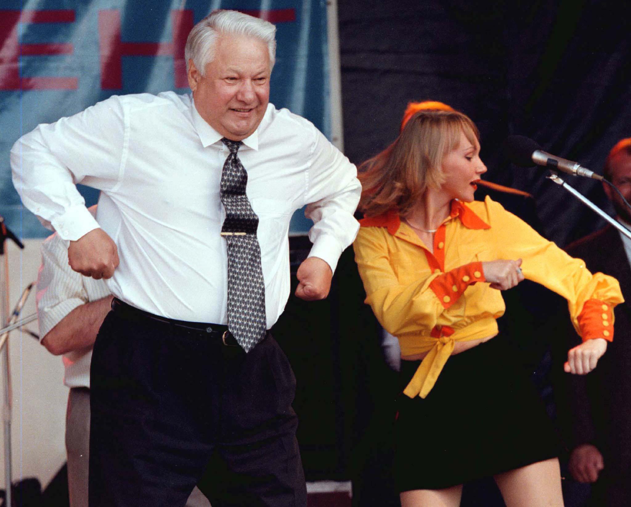 Boris Yeltsin dancing in a pre-election tour in Rostov, 1996 | Viktor Korotayev,  Reuters