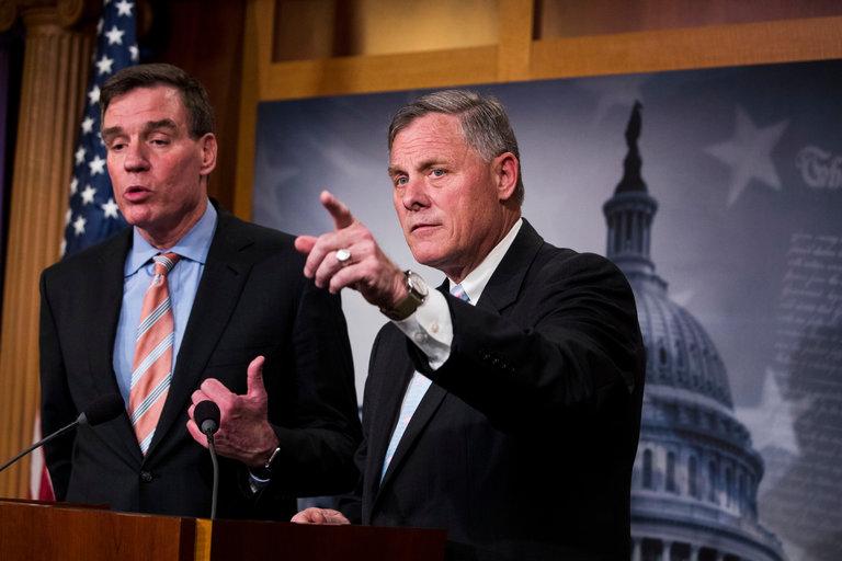 Senators Richard Burr (R-NC) and Mark Warner (D-Va), leaders of the Russia hacking investigations. || Doug Mills, The New York Times