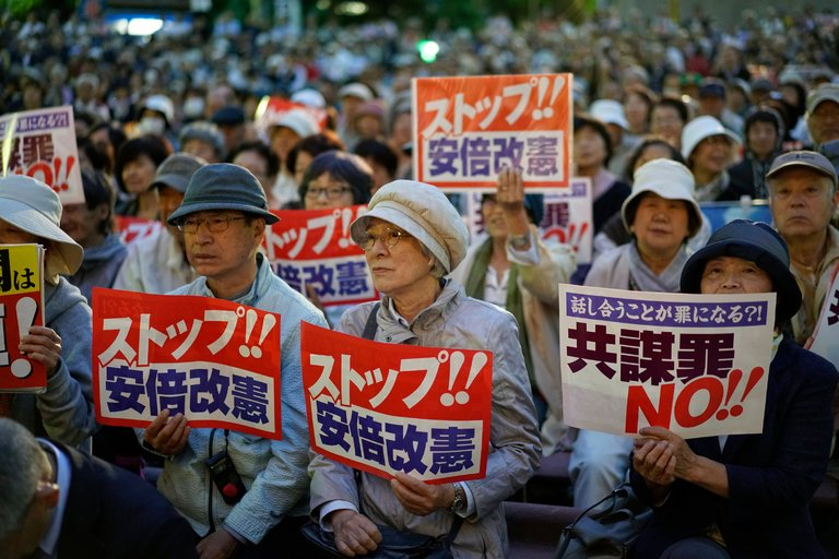 A protest in Tokyo against Japan's new anti-conspiracy bill. ||Franck Robichon, European Pressphoto Agency