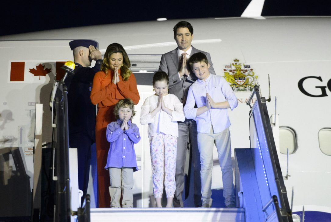 The Trudeau family lands in Delhi. || Sean Kilpatrick, The Canadian Press.
