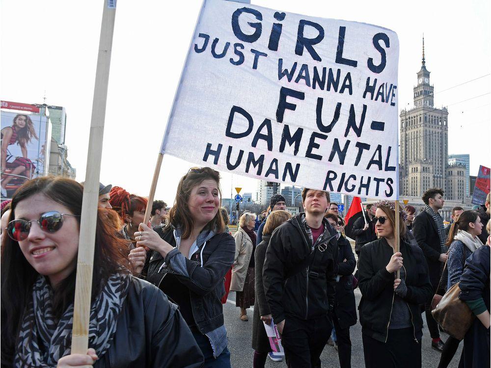 Protests in Warsaw, Poland on International Women's Day. || Janek Skarzynski, AP.