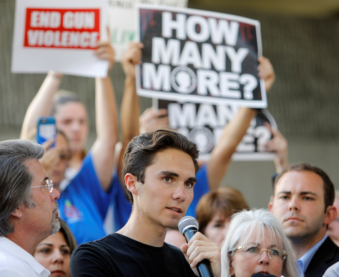 David Hogg, a student at Marjory Stoneman Douglas High, speaks up for gun control. || Jonathan Drake, Reuters.