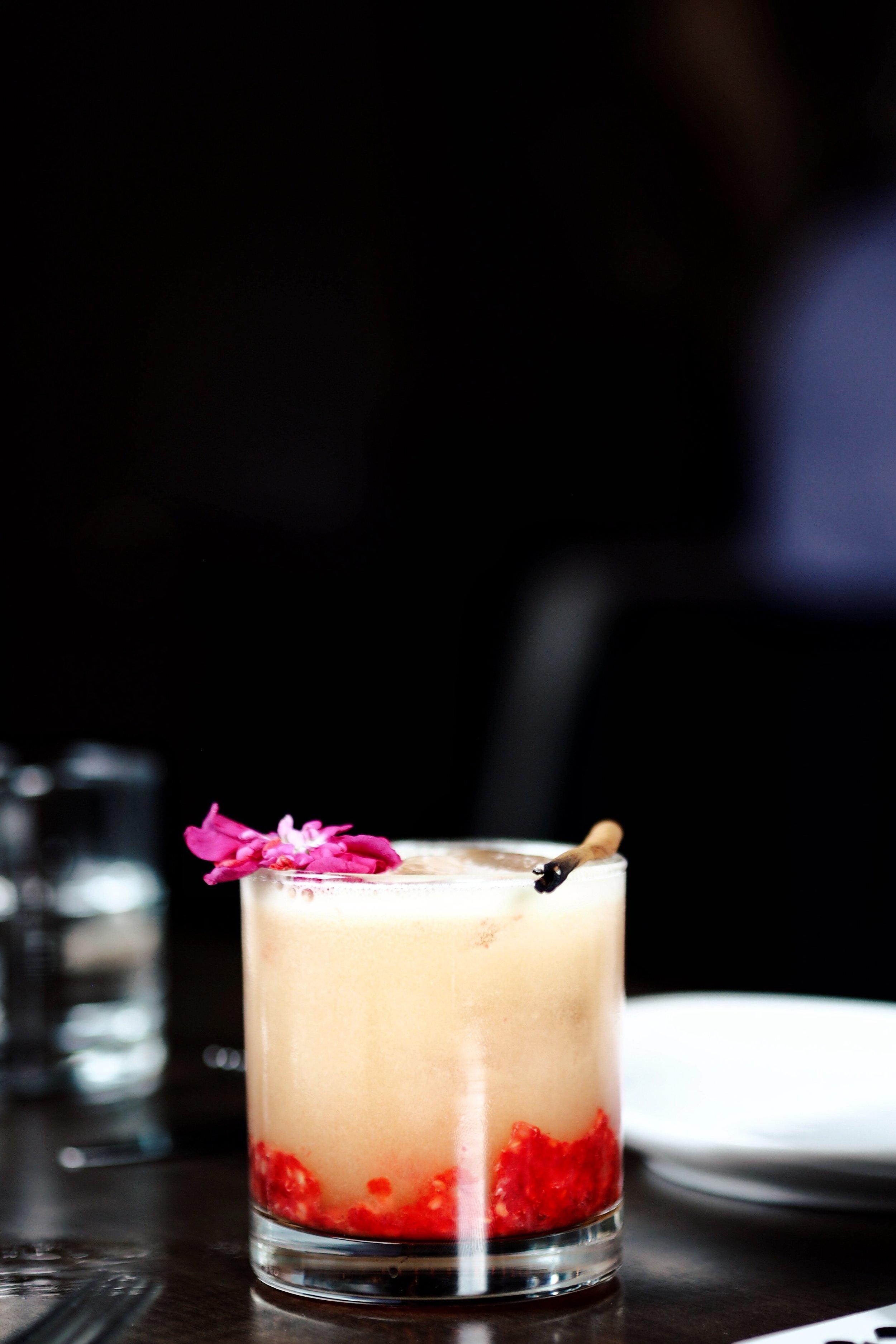 Bramble Bee : Havana Club 7 Años, Cazadores Blanco, Lime Juice, Passion Fruit Juice, Pineapple Juice, Falernum, Raspberries ($19.00 + tax)