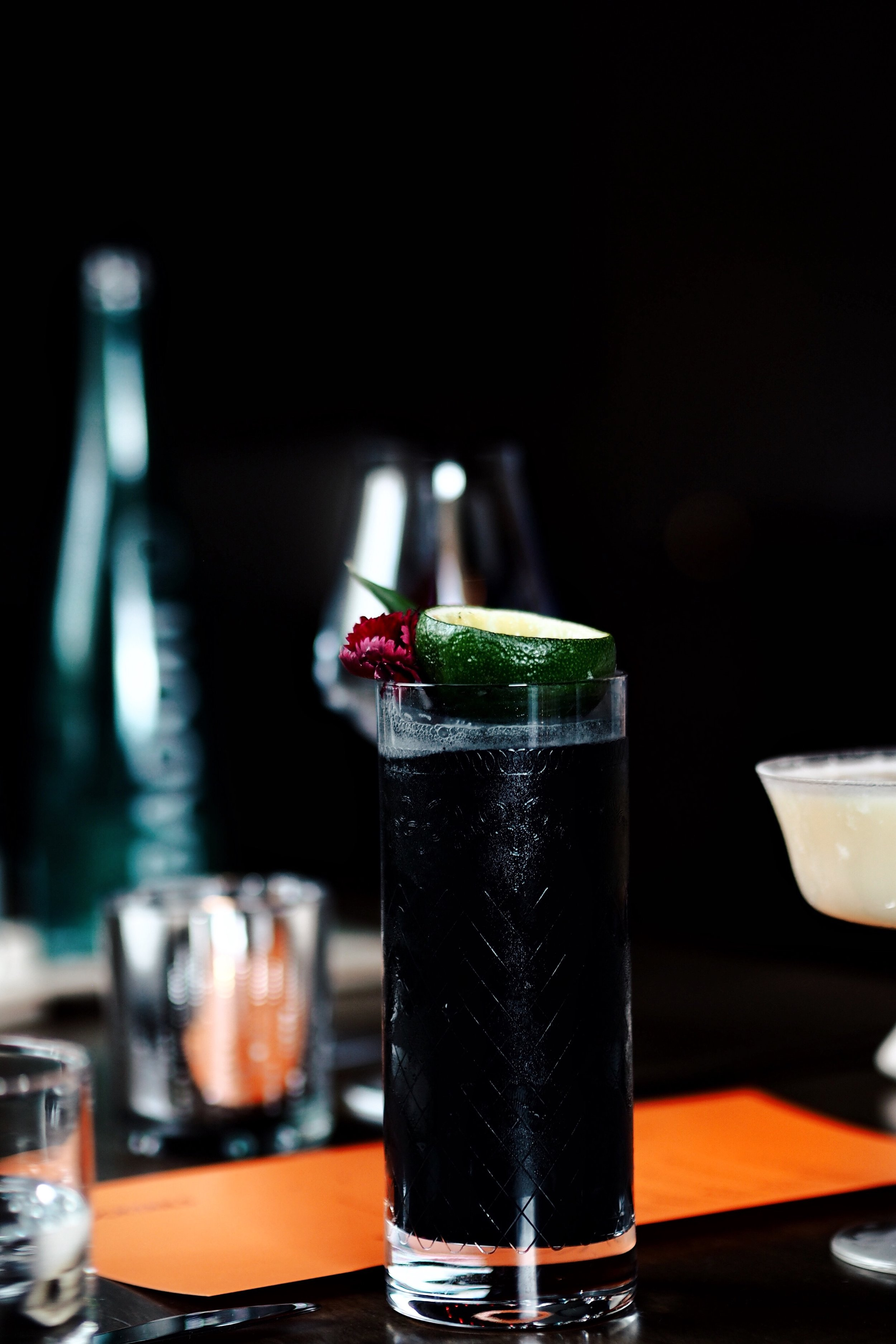 Maleficent :   J.P. Wiser's Double Still Rye, Bruchladdich 'Classic Laddie' ,Pineapple Juice, Lime Juice, Cashew Orgeat, Fresh Sage, Activated Charcoal, Angostura Bitters ($19.00 + tax)