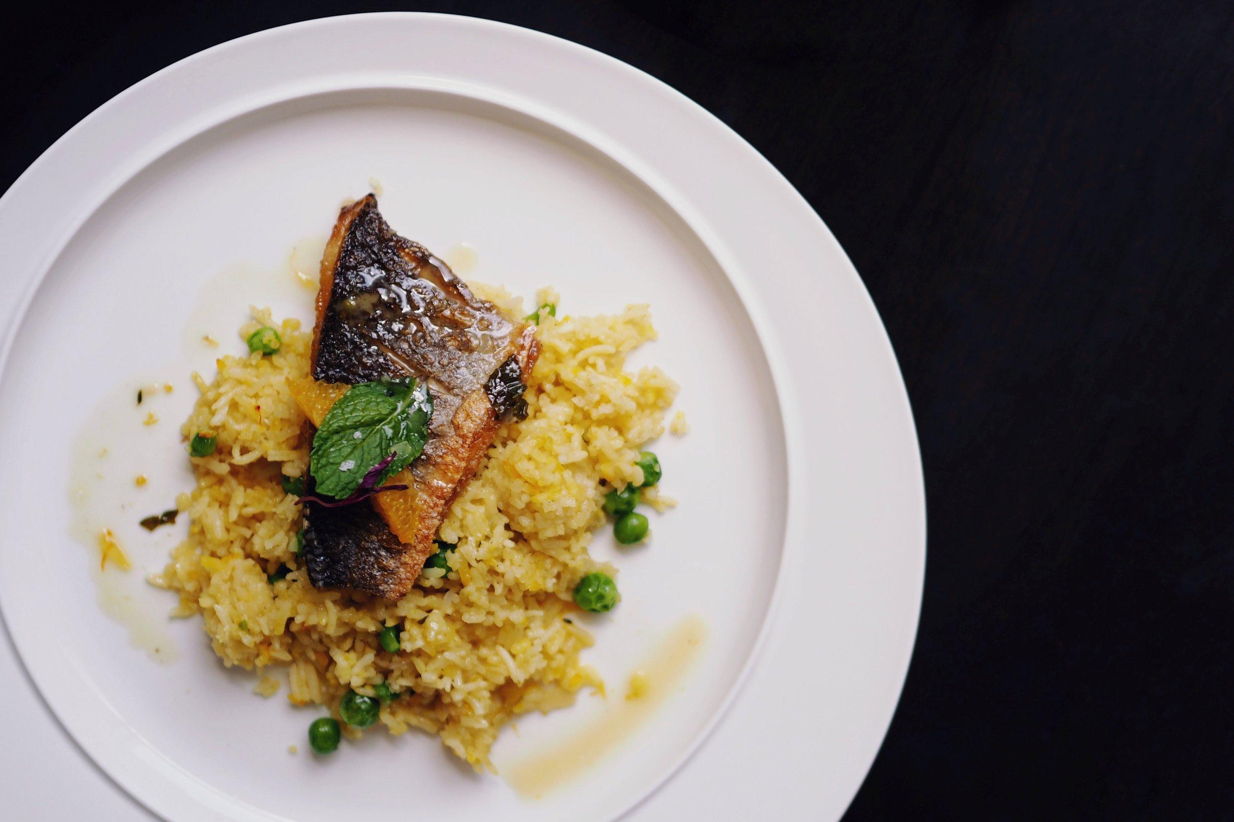 Pan Fried Fish with Saffron Rice