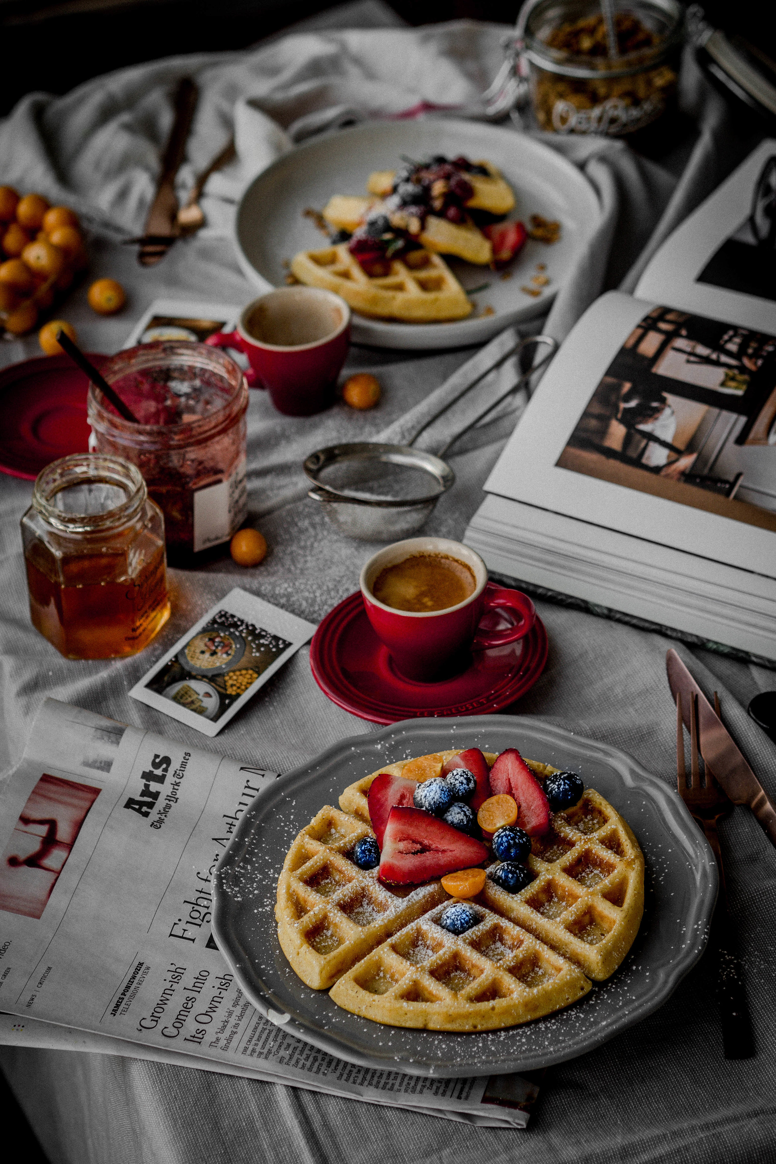 waffle #1: topped with mixed berries, powdered sugar and maple syrup. -