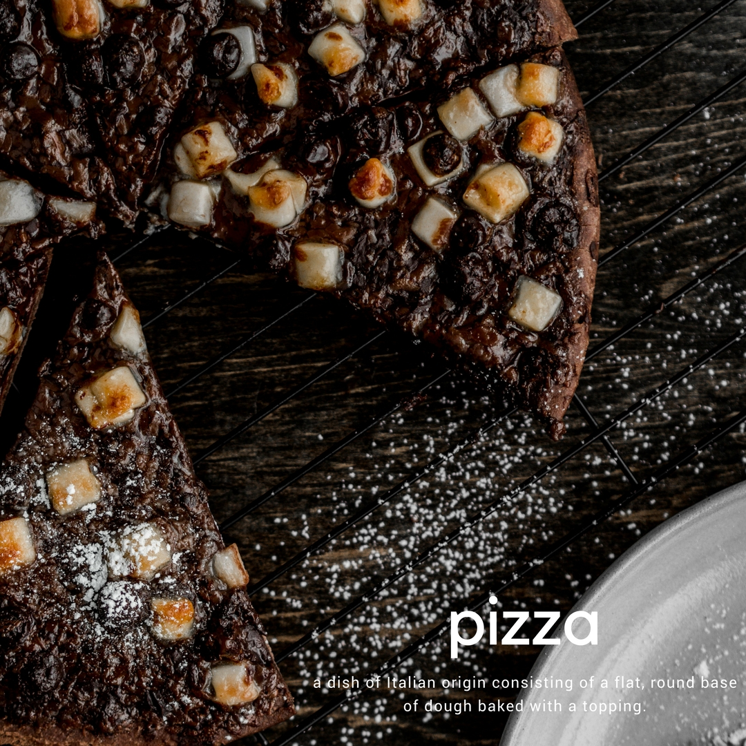 fresh out of the oven: an indulgent dessert pizza made with a ristorante chocolate crust and topped with three types of chocolate. -