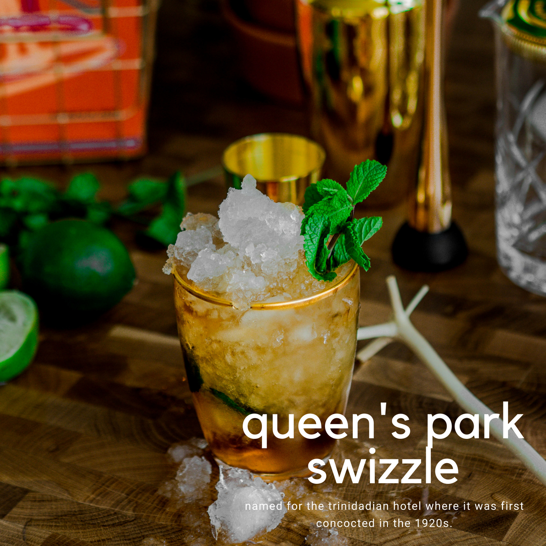 recipe: queen's park swizzle cocktail. - it's time to slap, dash, pour and swizzle into summer with this refreshing rum cocktail enhanced by a bartender's essential ingredient - ANGOSTURA aromatic bitters.