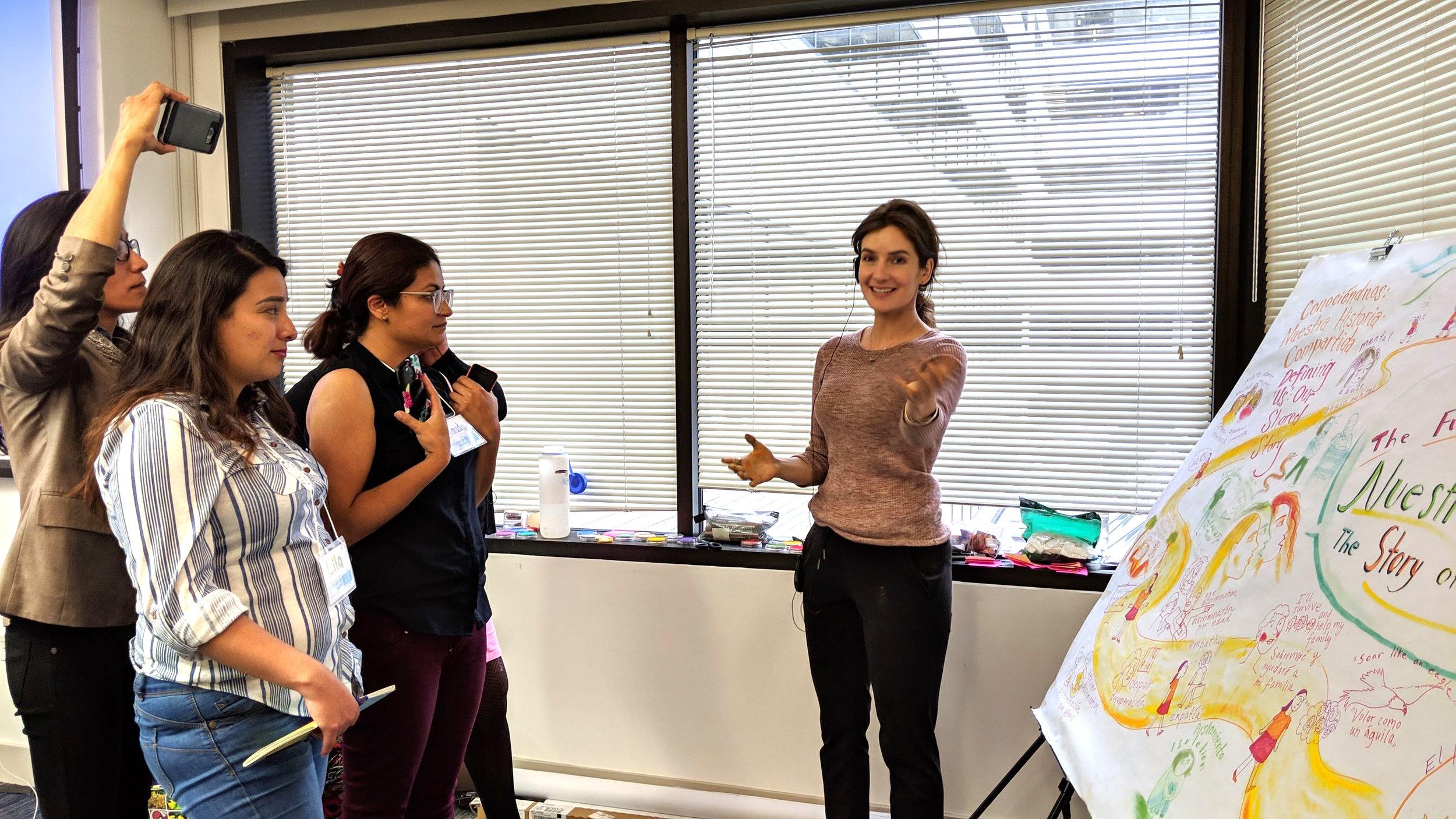 Graphic notetaking and facilitating at a Centro de los Derechos del Migrante workshop (2019). Photo: Courtenay Lewis.