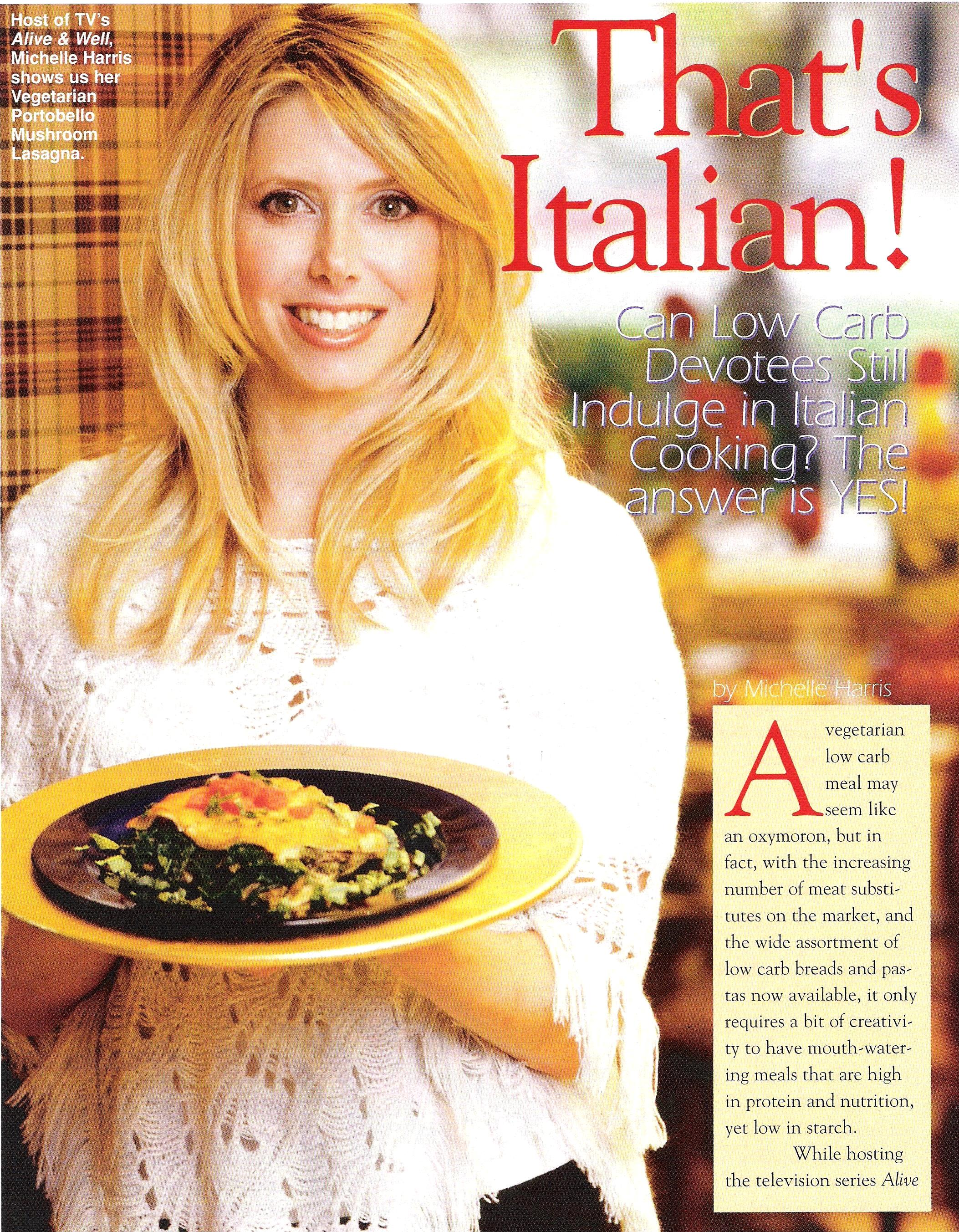 Michelle Harris of Alive and Well TV Show in That's Italian magazine