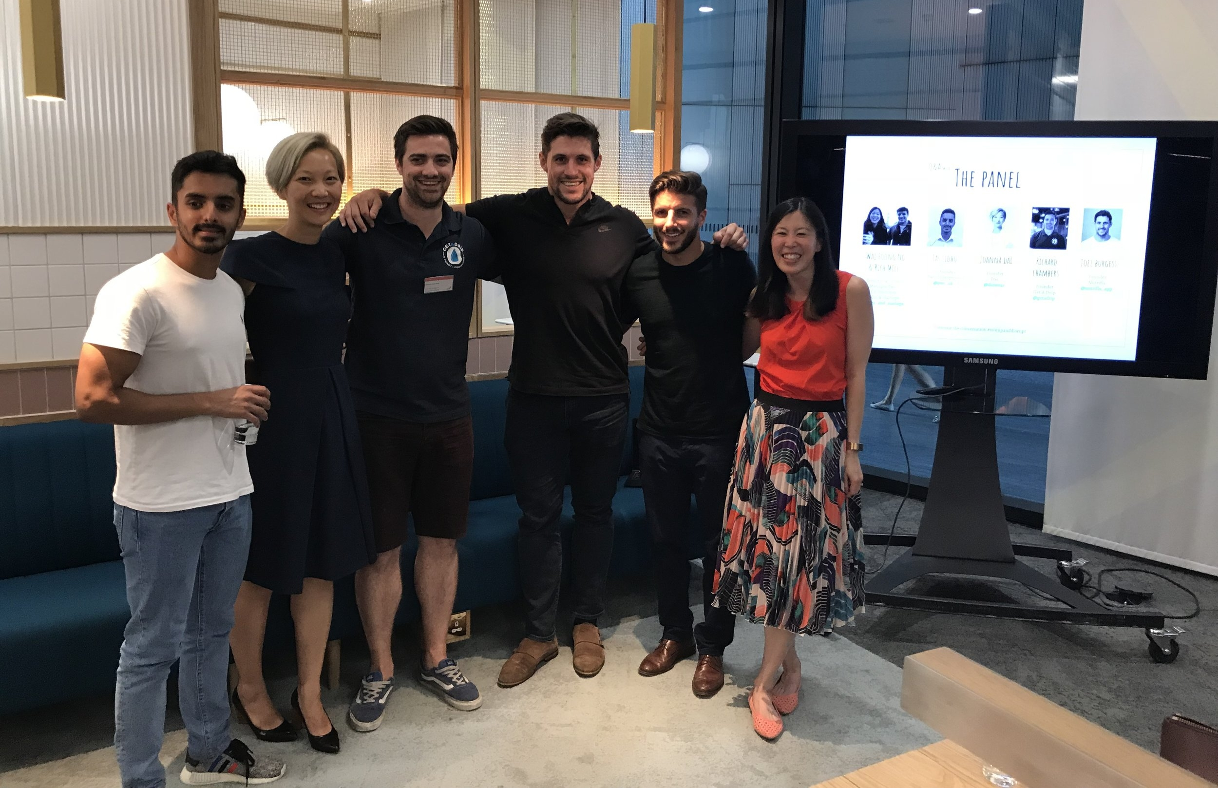 L to R: Jas Sidhu (PwC Disruption), Joanna Dai (Dai), Richard Chambers (Get A Drip), Joel Burgess (Nutrifix), Mills & Foong (PwC and Suits & Startups)