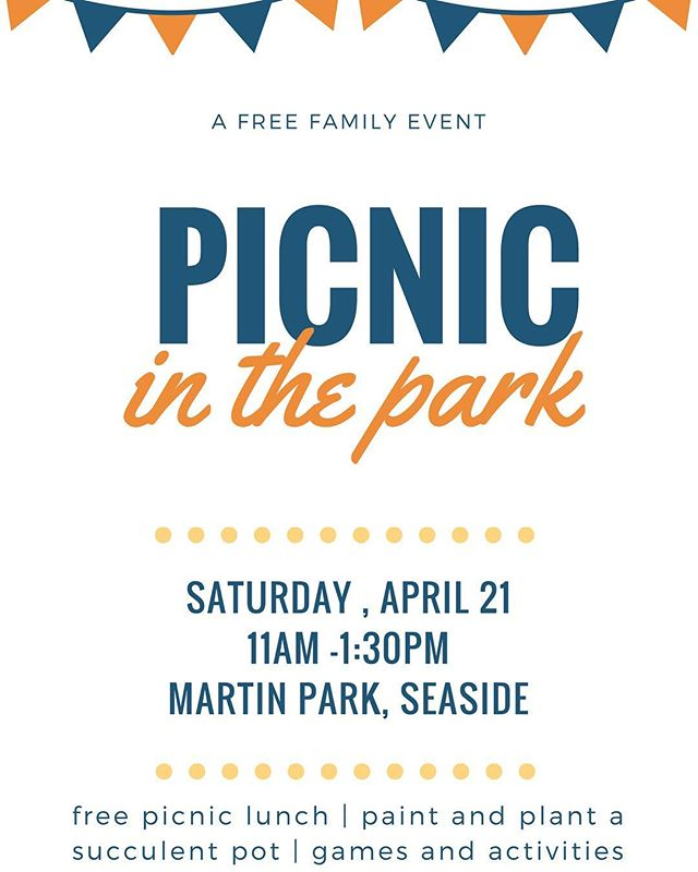 We'll be at Martin Park next Saturday - join us for games and activities for parents and kids plus a picnic lunch! As a part of Seaside's community, we want to bless, serve and know the people who are our neighbors!