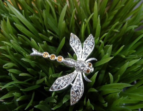 Citrine and Sterling Silver Dragonfly Pin. $120