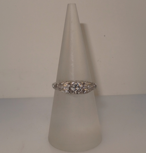 Vintage, Art Deco 18k white gold filigree diamond ring. Size 6.75. (Sizable). $1,050.